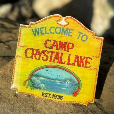 Camp Crystal Lake Sign Pin