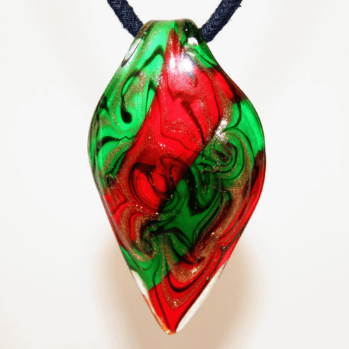 Green, Red and Black Lamp Glass Pendant
