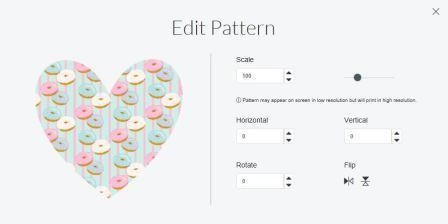 Edit patterns menu in cricut design space