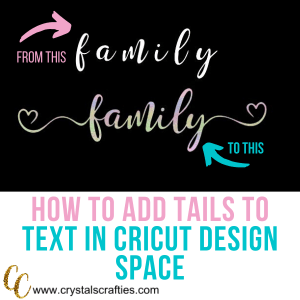 add tails to text in cricut design space