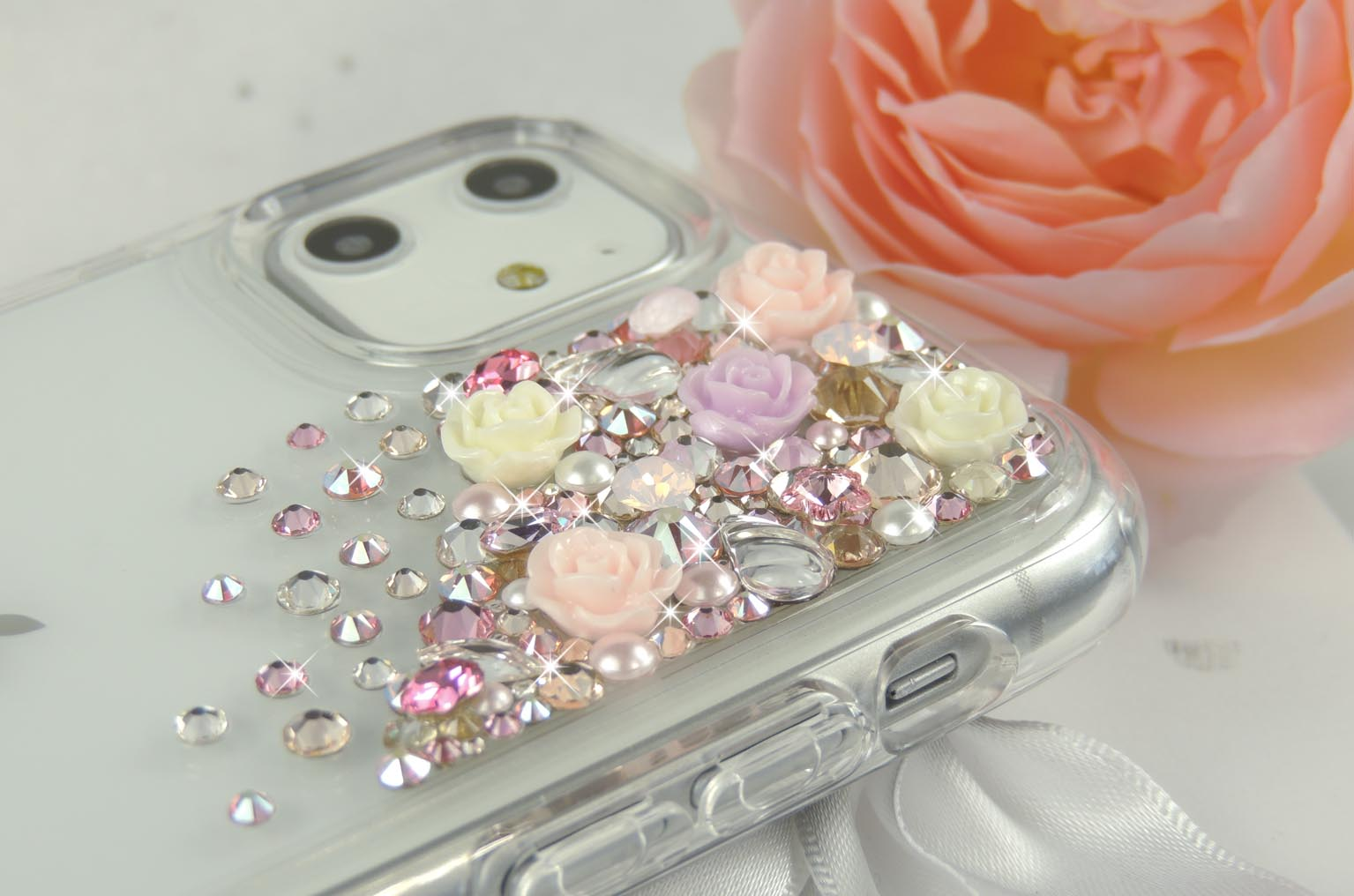 Cascade Fleur, pretty Swarovski® crystal and flower phone case.