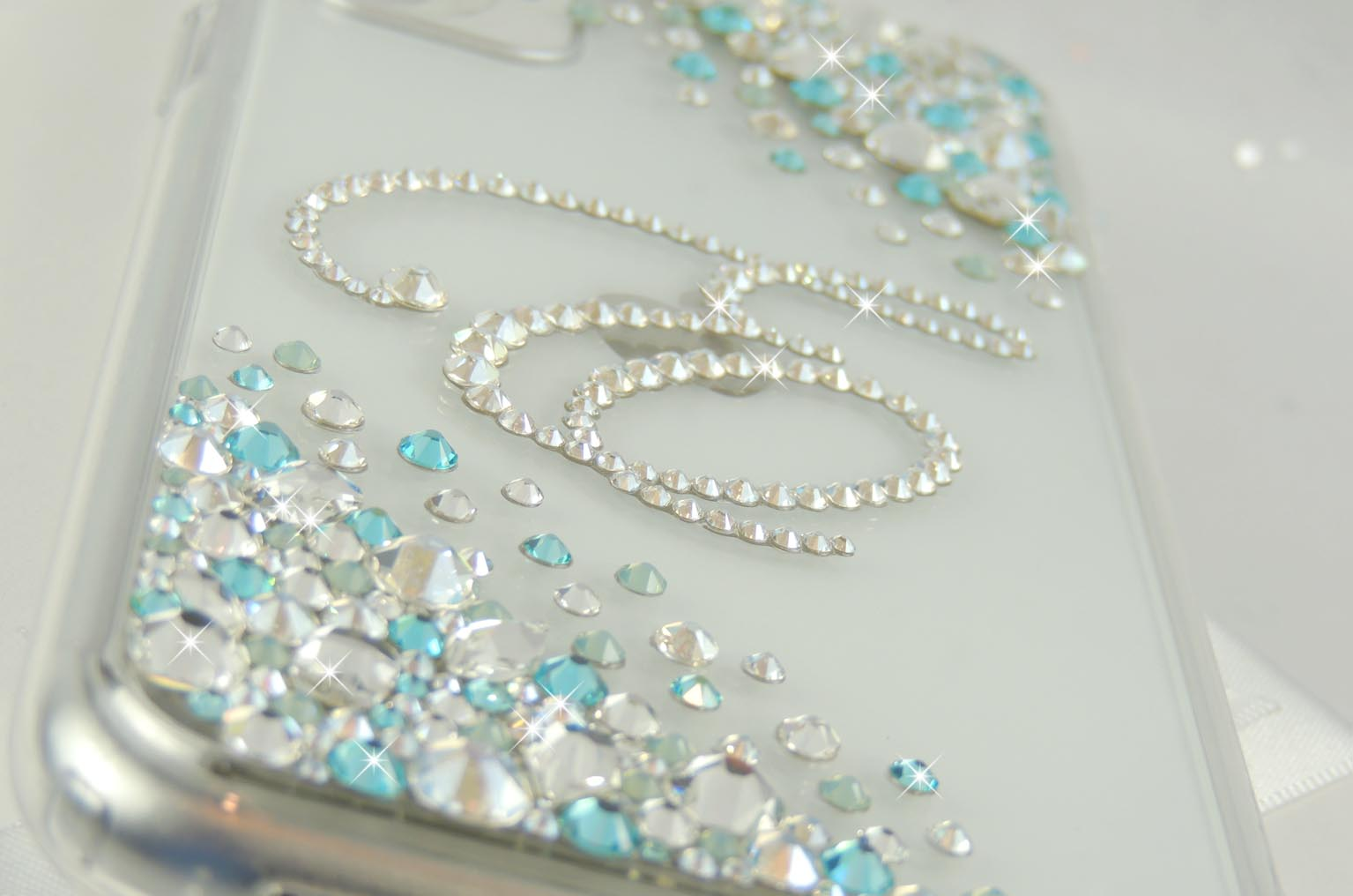 Tiffany blue bling Swarovski designer iPhone 11 case .