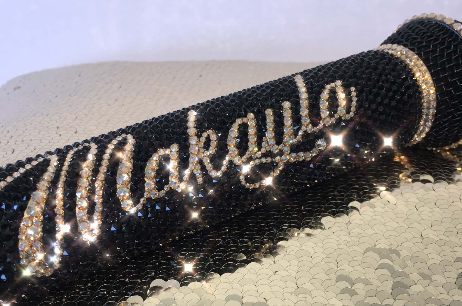 Black and gold personalised bling crystal swarovski Shure microphone