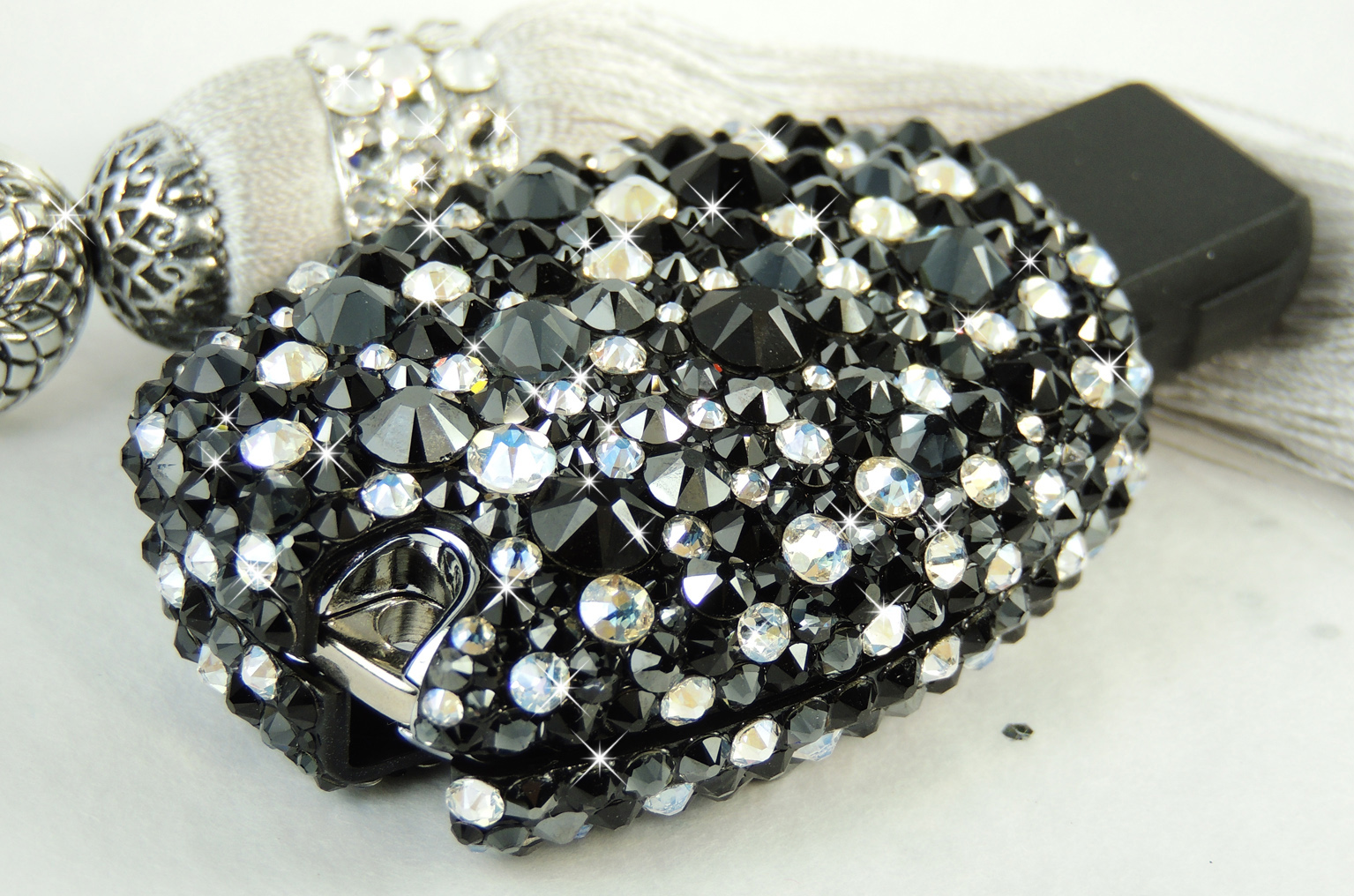 Midnight Black and Silver Crystal Mercedes Key Case. Crystals by Swarovski®