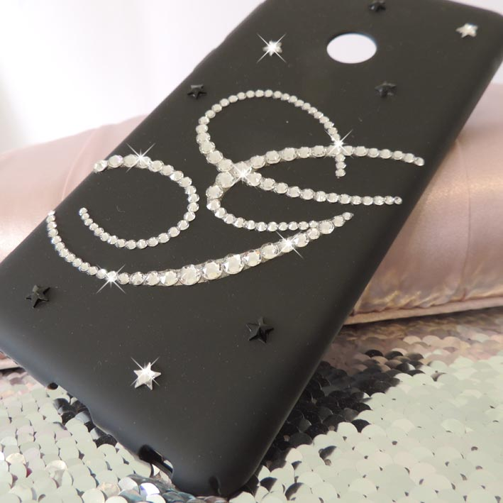 Black monogram Swarovski® crystal case