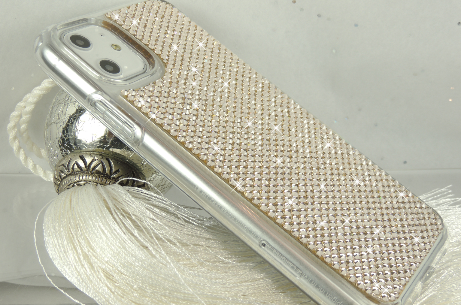 Light gold iPhone 11 bumper case with crystals by Swarovski®