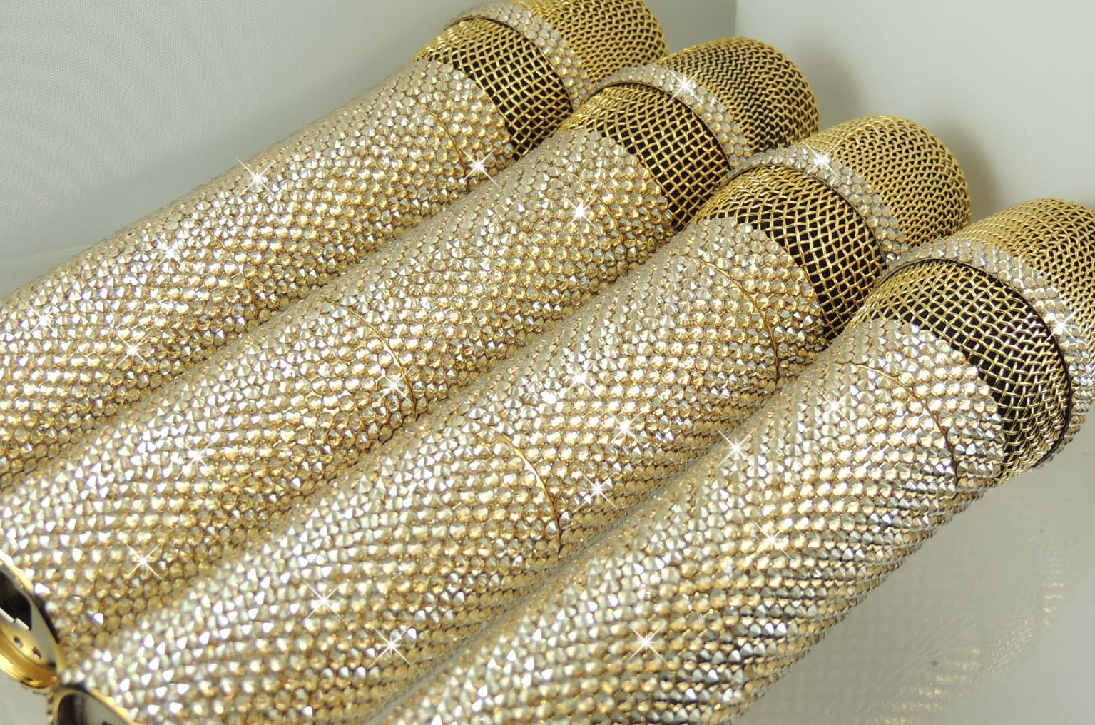 Gold plated swarovski crystal bling microphones.