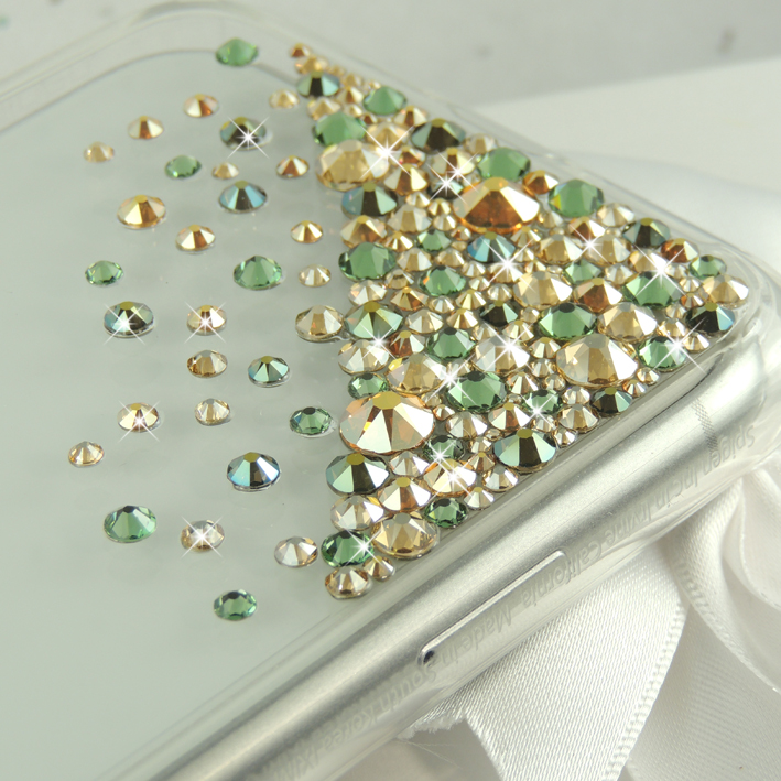Midnight green and gold bling Swarovski crystal iphone 11 pro case