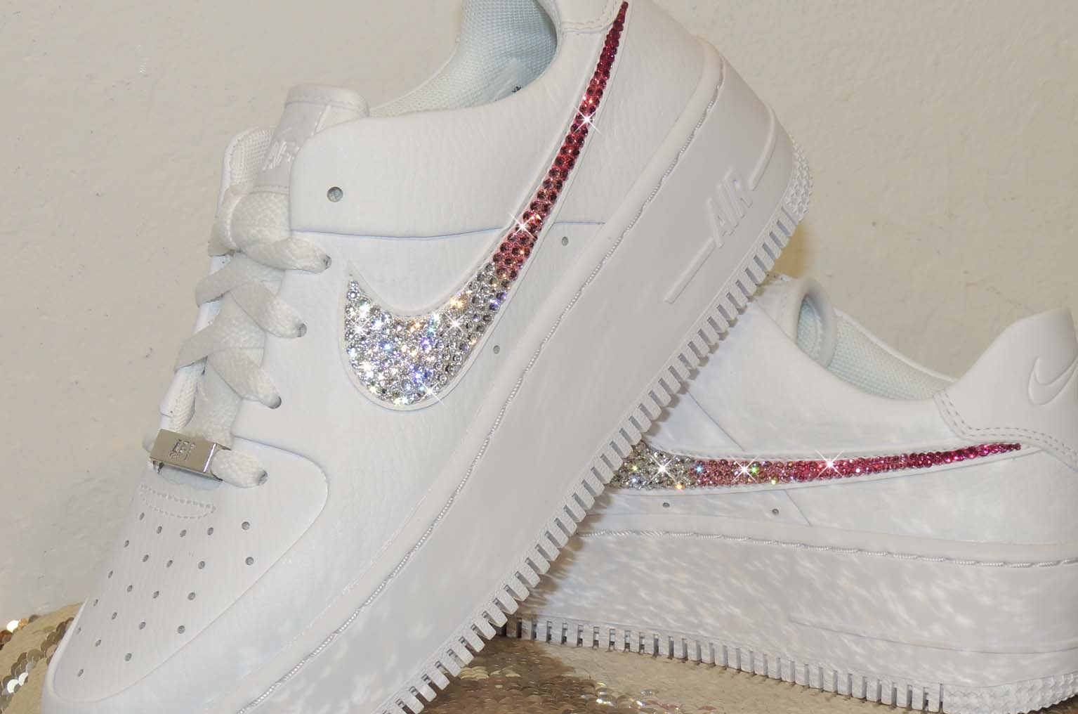 Pink Ombre Bling Swarovski Crystal Nike Ticks