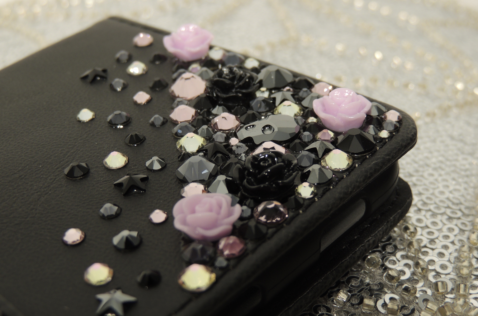 Pink and Black flower skull wallet case. Crystals by Swarovski®