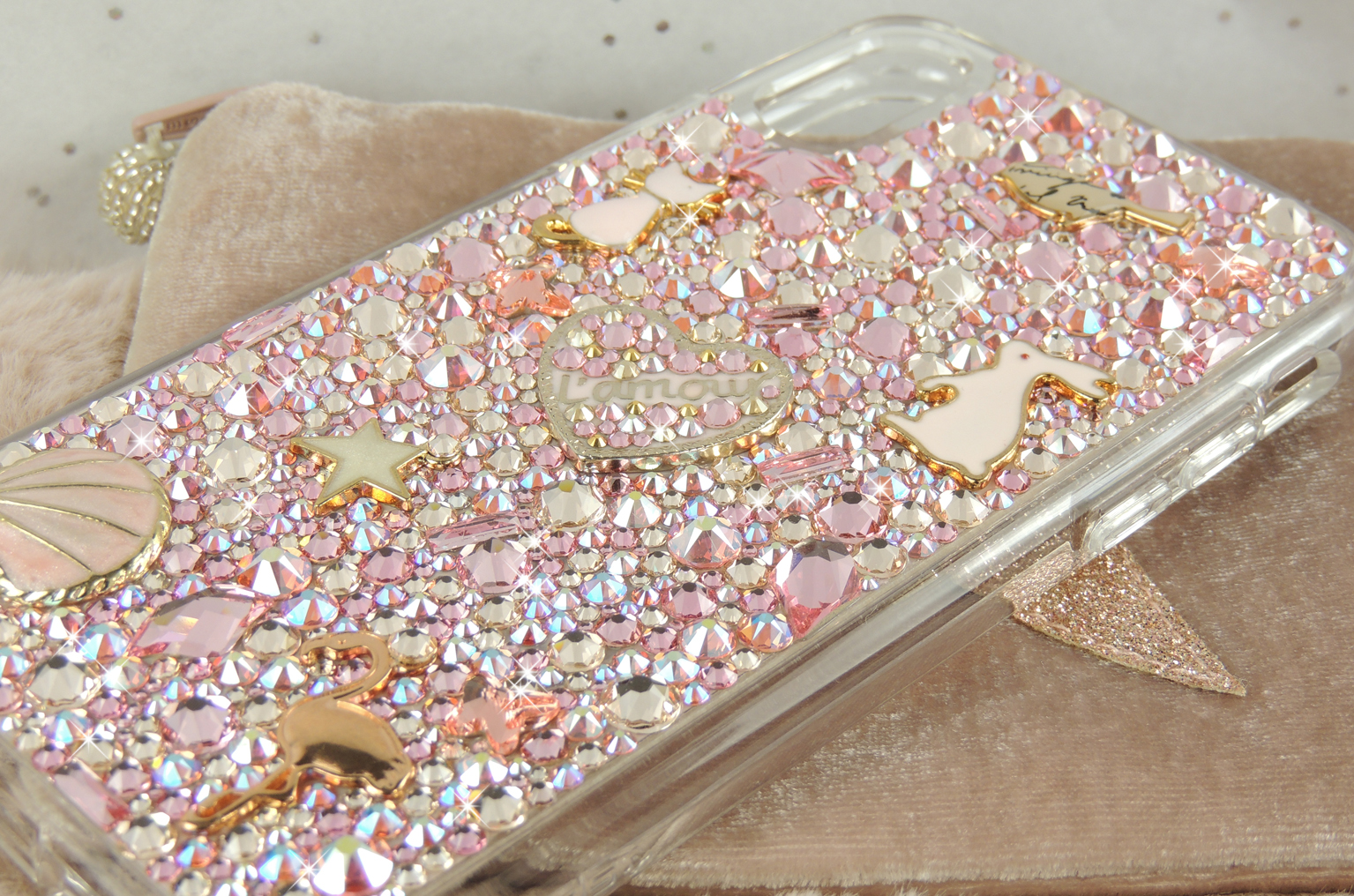 Pink and gold star flamingo cute swarovski bling iPhone 11 pro crystal case
