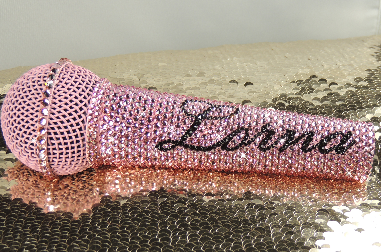 Baby pink Shure SM58 with name in black featuring a matching baby pink grill. Crystals by Swarovski®