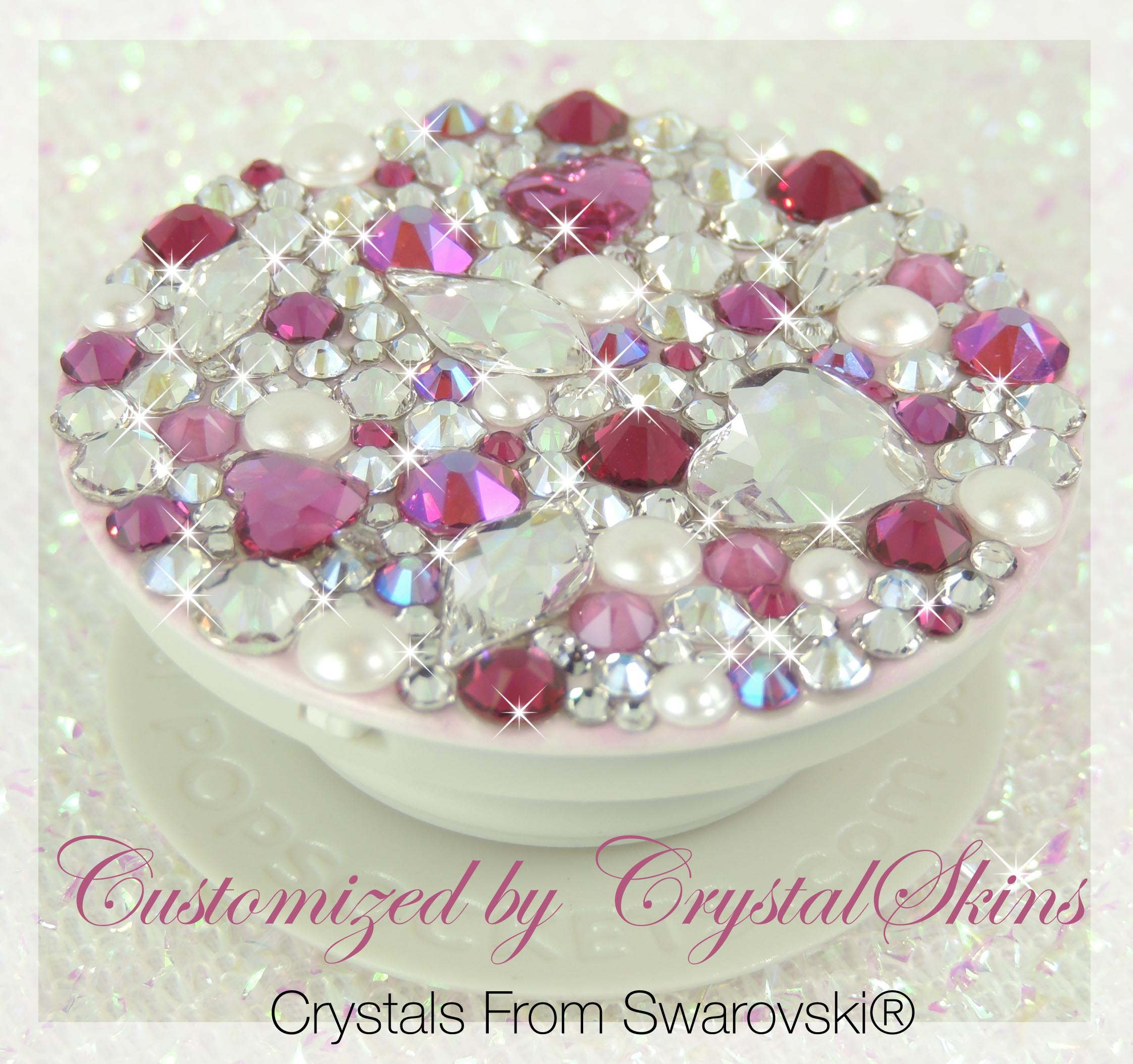 Pink Diamonds and Pearls Bling Crystal Popsoket. Crystals by Swarovski®