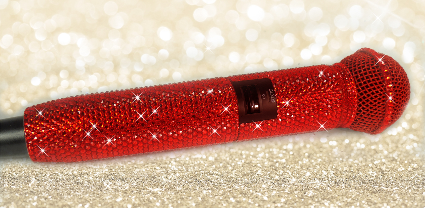 Rich red Swarovski crystal Shure wireless microphone.
