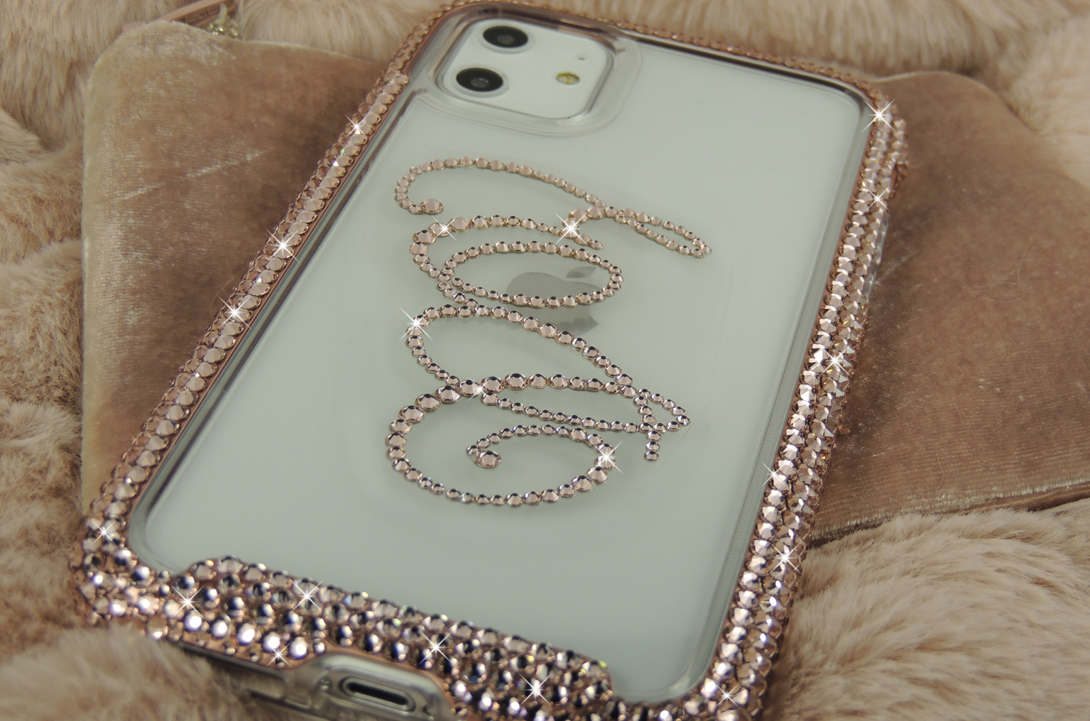 Rose gold iPhone 11 pro crystal bumper case personalised with initials