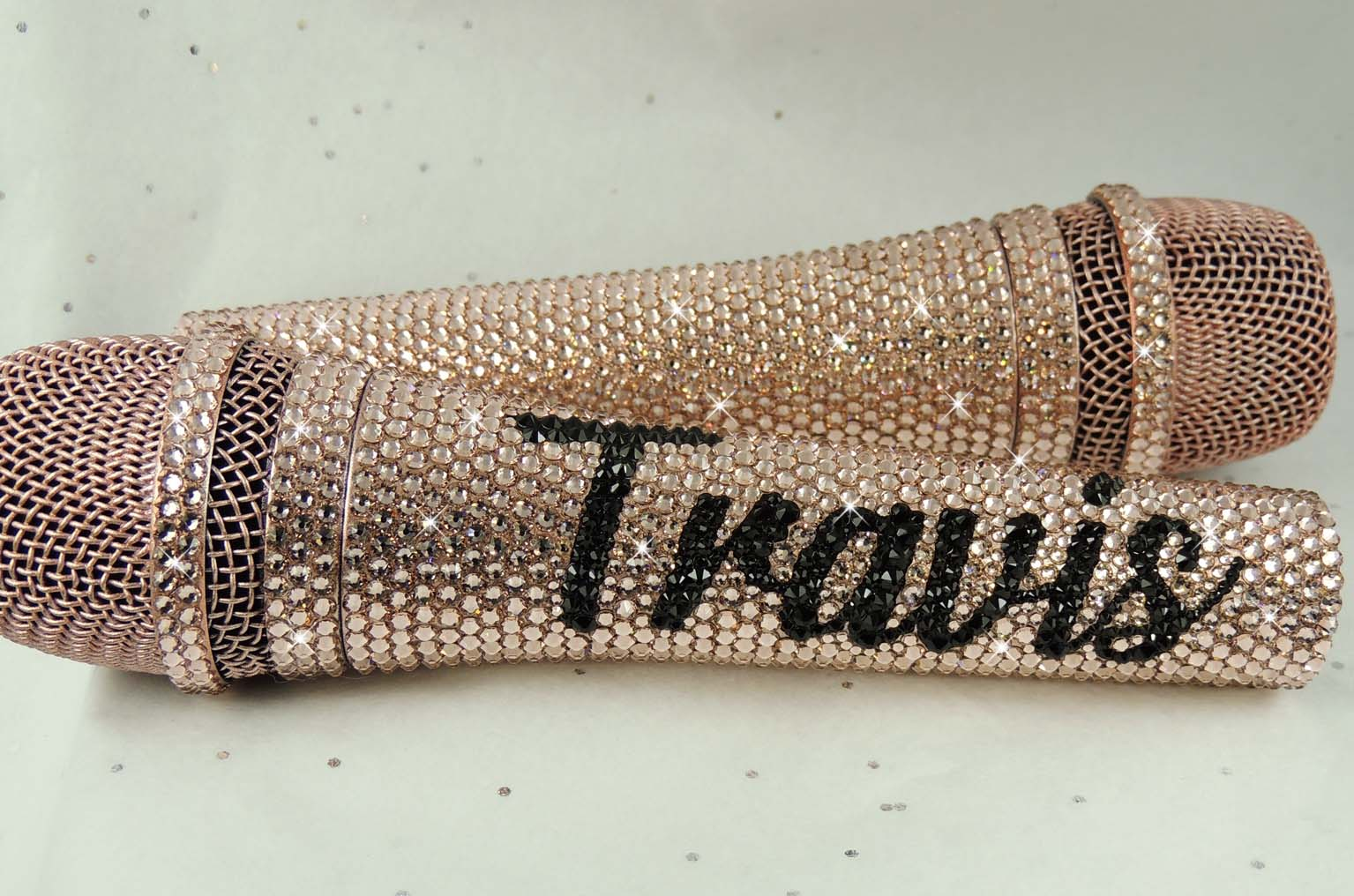 Rose gold sennheiser swarovski crystal bling microphones personalised with name in black.