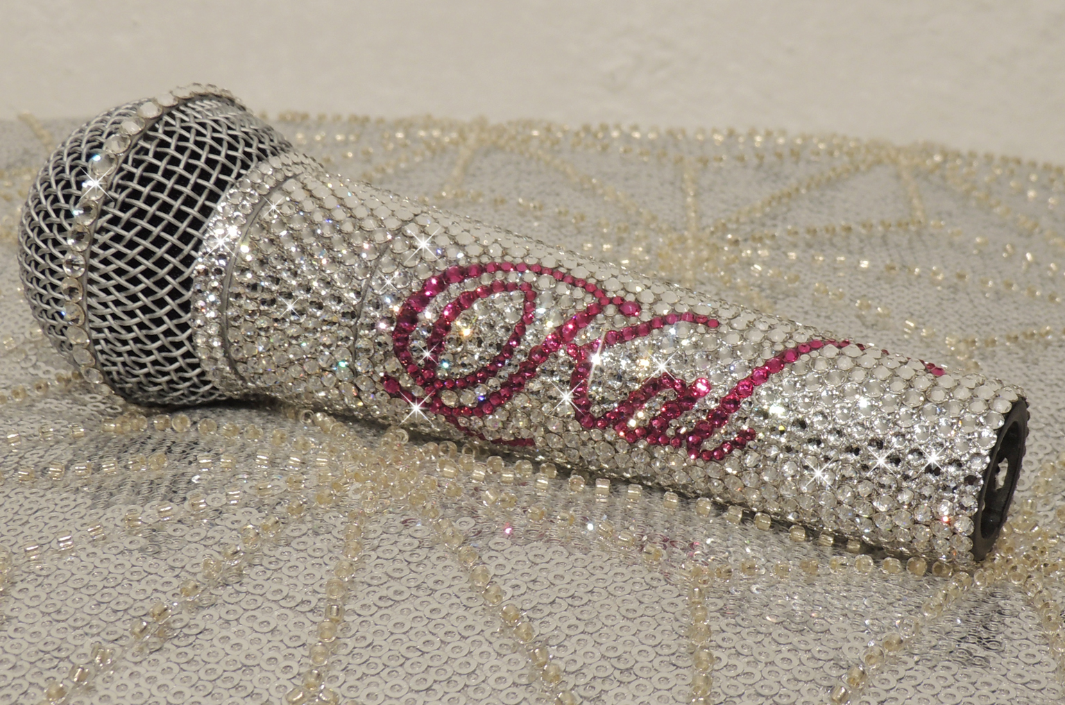 Silver and pink Swarovski crystal Shure SM58