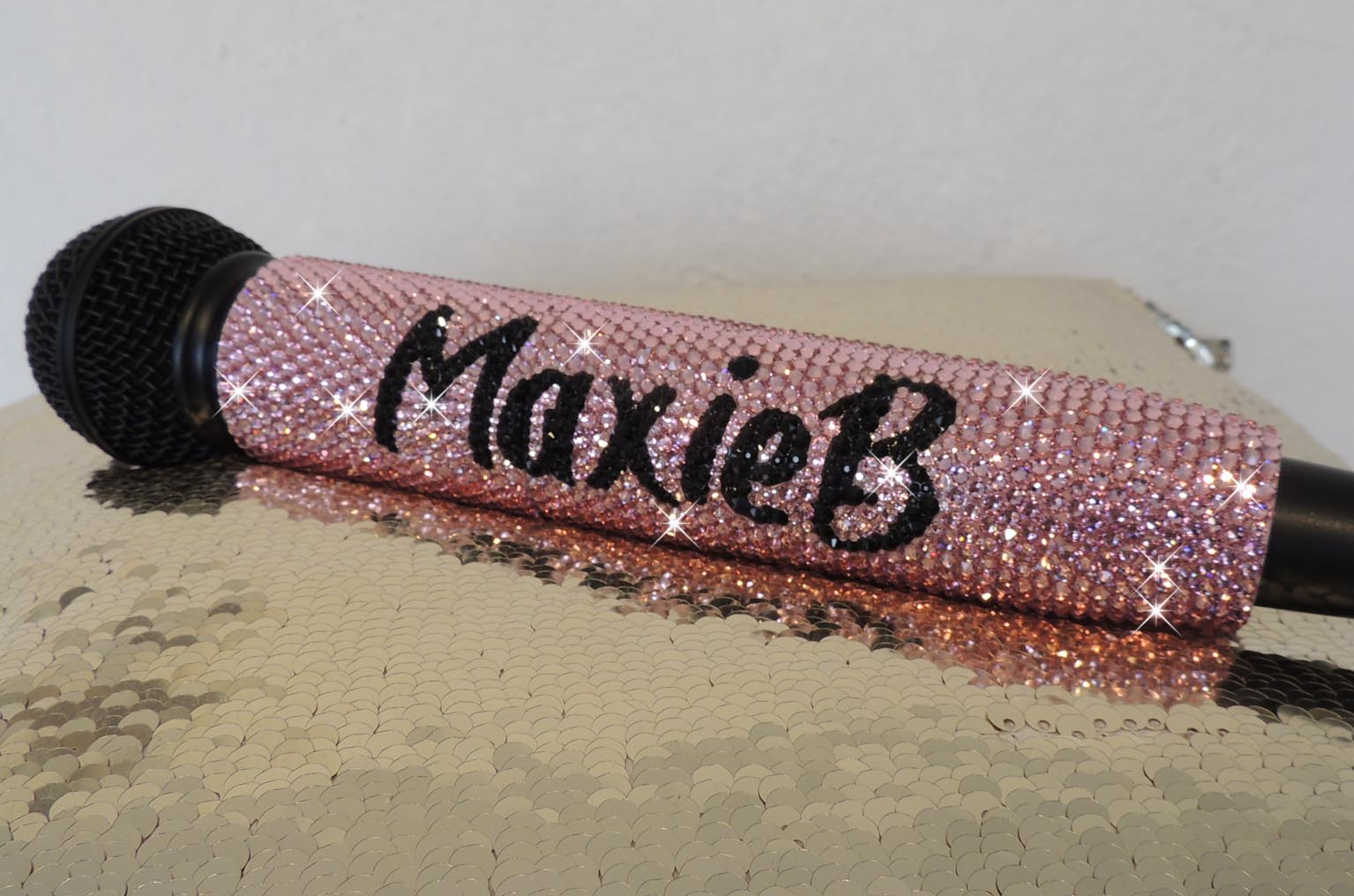 Pink and Black Swarovski Crystal Mic Handle for Shure Digital Range.