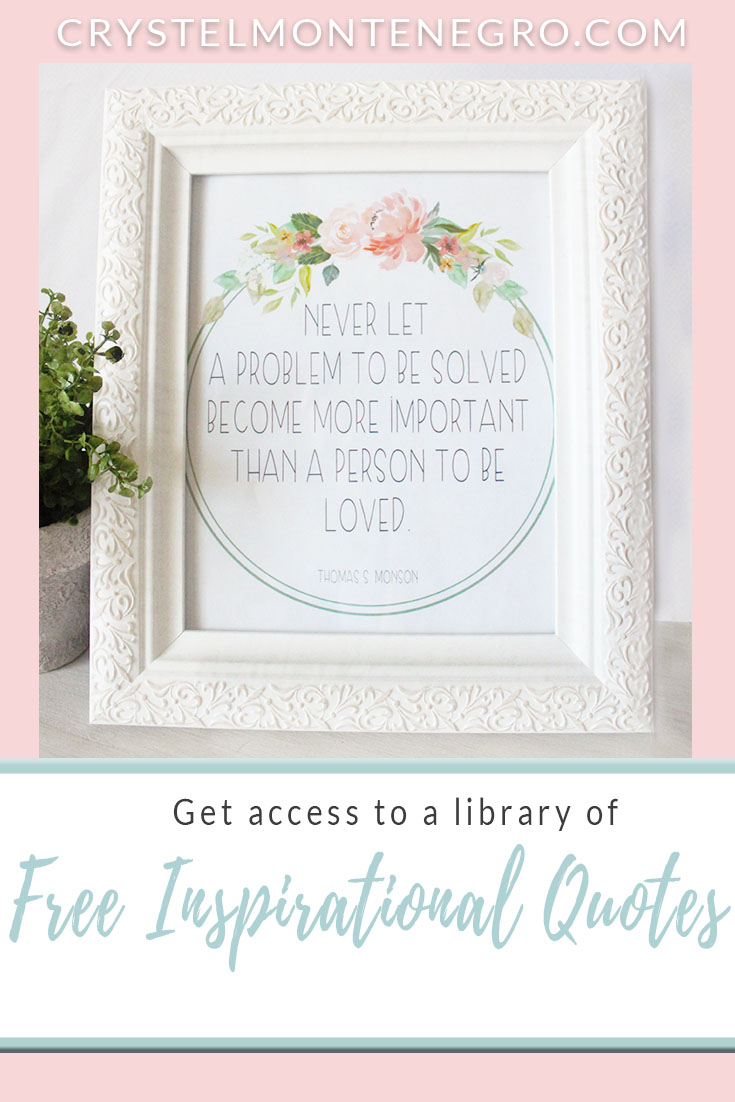 photo about Free Quote Printable referred to as Free of charge Inspirational Quotation Printables - Crystel Montenegro at Residence
