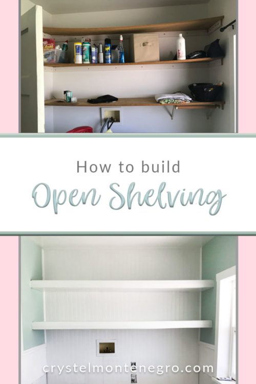 How to build open shelving, build floating shelves, laundry room makeover, laundry room shelving
