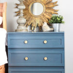 Blue Nightstand with Gold Hardware