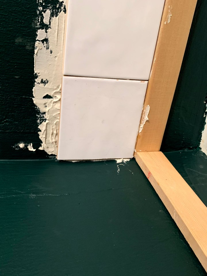 close up of ledger boards installed for tile to sit on