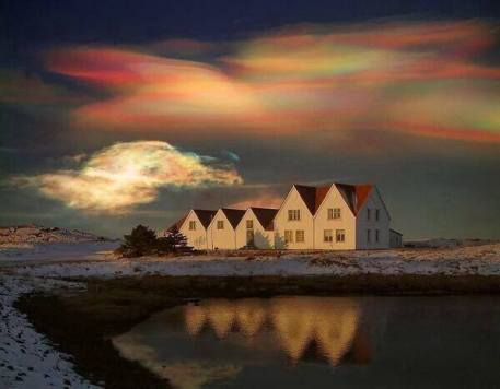 Very Rare Rainbow (Polar stratospheric) Clouds in Greenland.