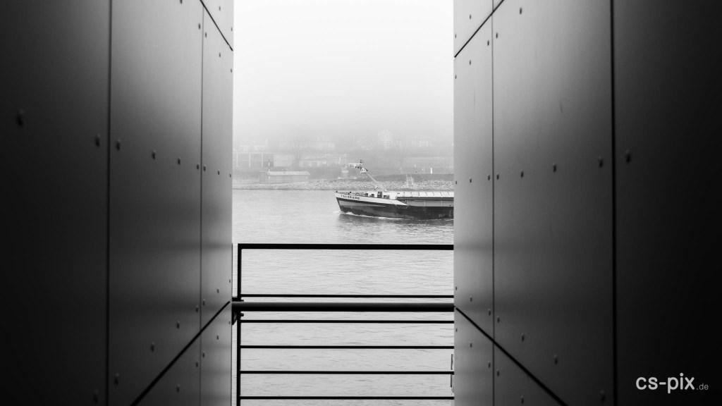 Koblenz, Street, B/W, Fog