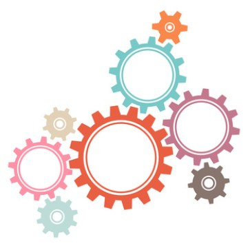 Retro Gears Graphics White Background