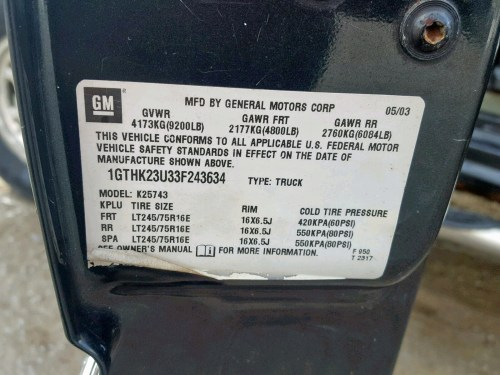 small resolution of  1gthk23u33f243634 2003 gmc sierra k25 6 0l
