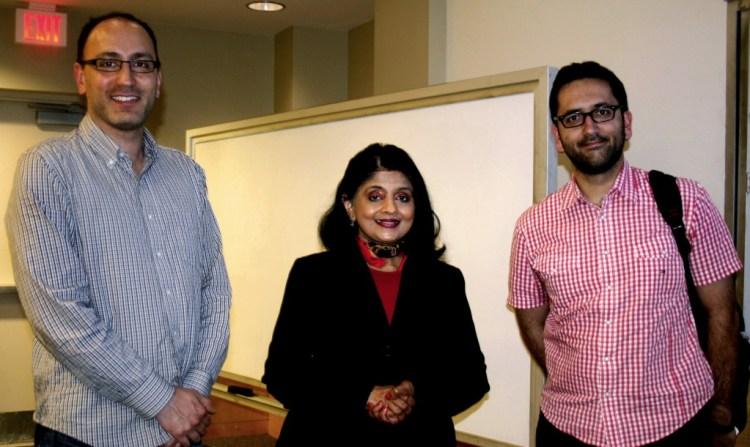 (Left to Right) Dr. Alvaro A. Cárdenas, Dr. Bhavani Thuraisingham, Dr. Murat Kantarcioglu.