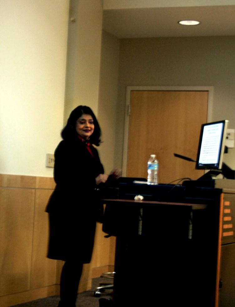 Dr. Bhavani Thuraisingham speaking at the Grace Series.