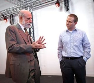 Dr. Ryan McMahan (right)in his lab with Vinton Cerf, vice president and chief internet evangelist at Google