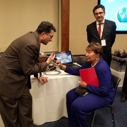Congresswoman Eddie Bernice Johnson (D-TX) discussing the rehabilitation system: The project team was delighted to learn that Ms. Johnson was the Chief Psychiatric Nurse at the Dallas Veterans Hospital.