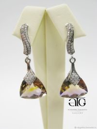 Earrings with ametrine and CZ. 925 sterling silver  shop ...