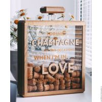 Champagne wine cork shadow box holder collector Coco