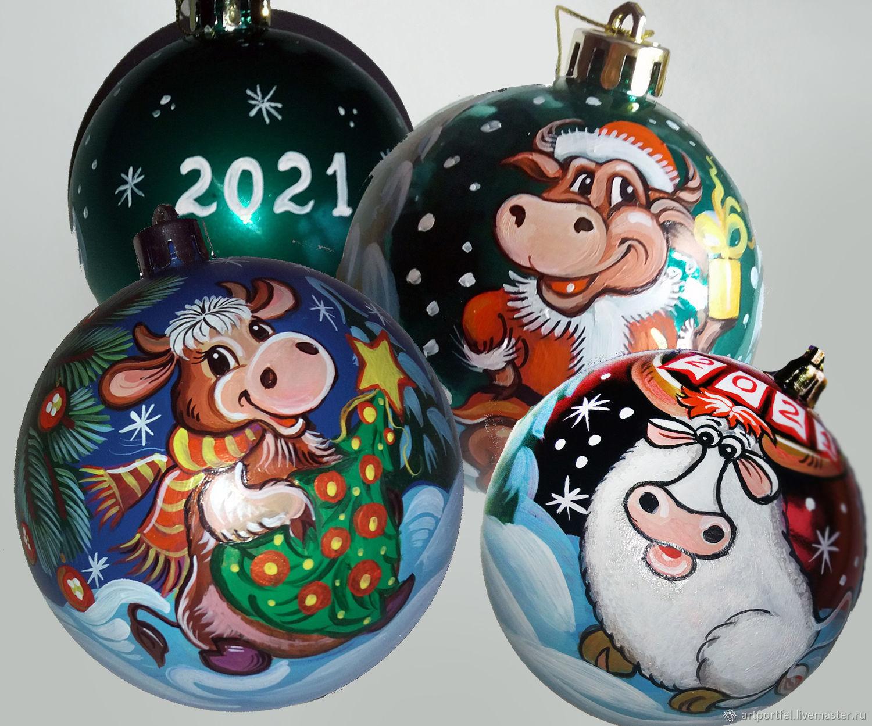 Новогодние Елочные шары - Символ 2021 года - Бык – заказать на Ярмарке  Мастеров – KUX2ORU | Год Быка, Москва