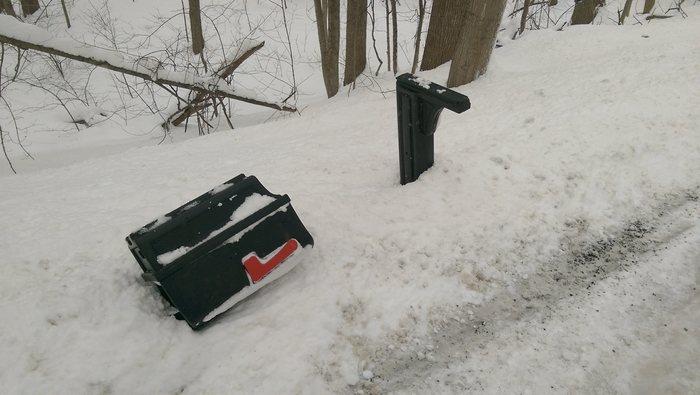 Зимний Мичиган. Вдоль дороги валяются жертвы последнего снегопада Америка, США, Мичиган, Жизнь в Мичигане, Сельская Америка, Снегопад, Длиннопост