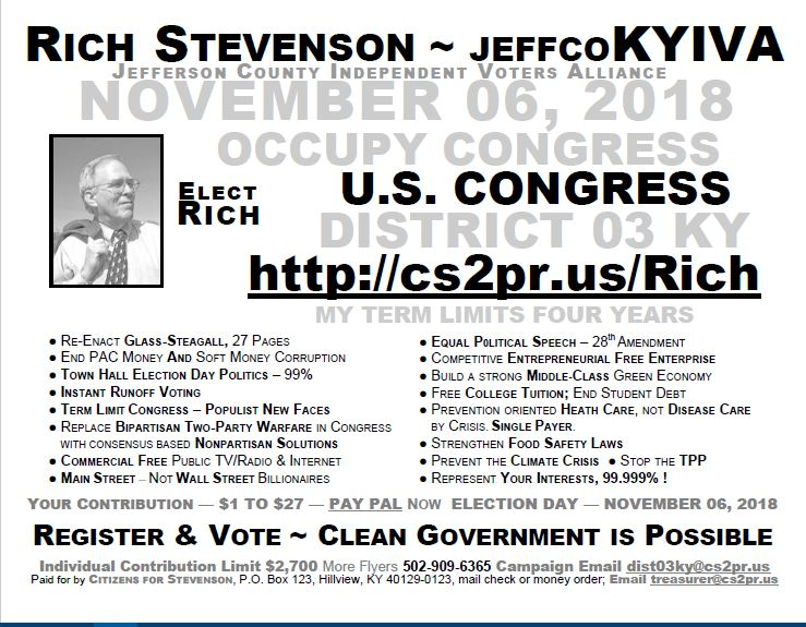 Clean Elections ~ Elect Stevenson to Congress