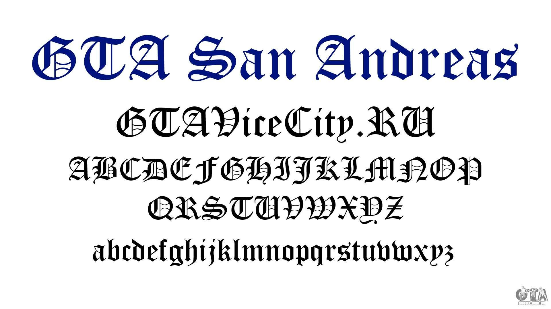 A fonte oficial para o GTA San Andreas para GTA San Andreas
