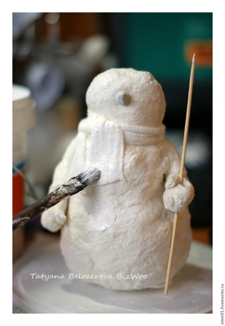 Snowman ระดับปริญญาโทในเทคนิคของ Cotton Papier-Mâchéภาพถ่าย№ 20