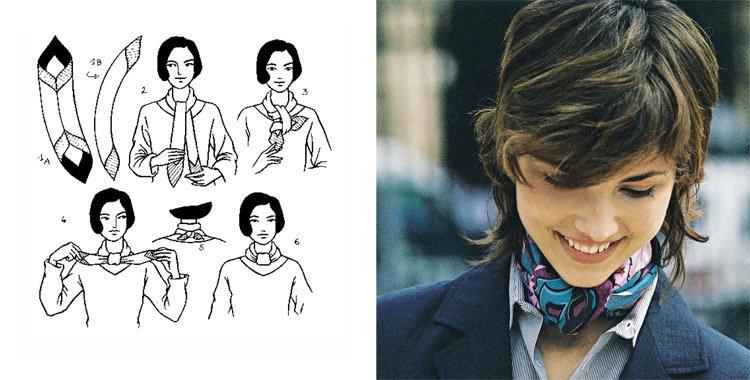 손수건을 아름답게 묶는 28 가지 방법, 사진 № 1