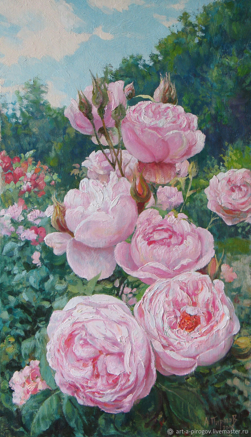 pink roses on the