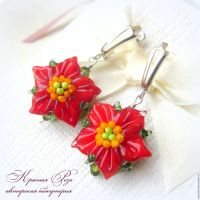 """Earrings """"Poinsettia""""  shop online on Livemaster with ..."""