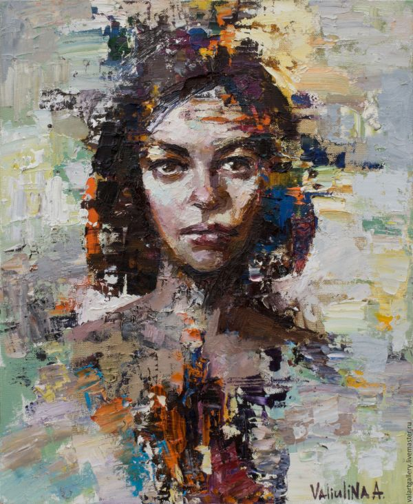 Abstract Woman Portrait Painting Original Oil