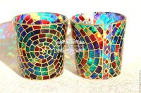 Candle holder with mosaic pattern. Stained glass painting