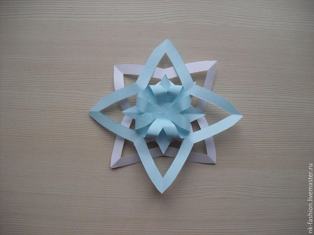 Herstellung einer Girlande aus volumetrischen Schneeflocken, Foto Nr. 15