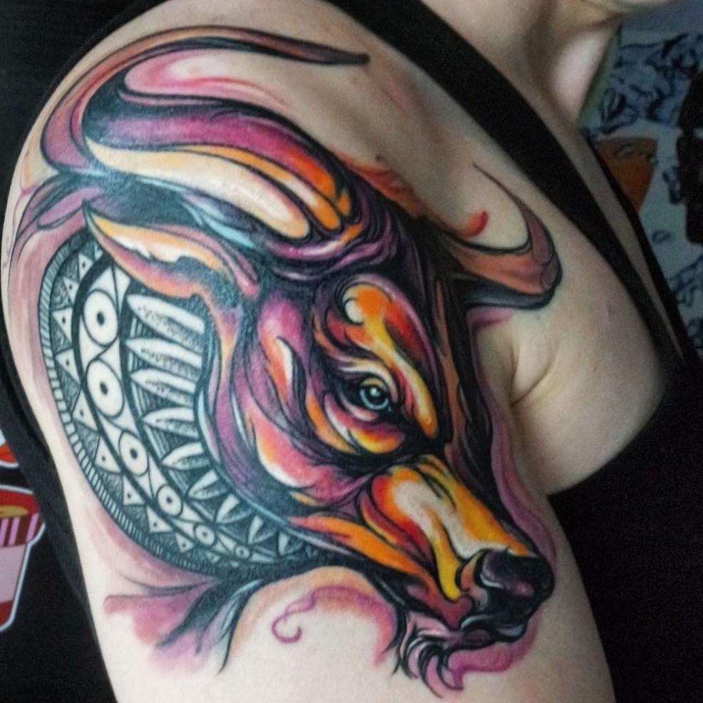 идеи для татуировки бык эскизы и работы 1