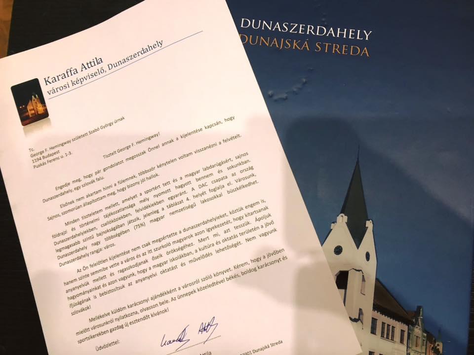 Egy dunaszerdahelyi képviselő ajándékkönyvet küldött Hemingwaynek karácsonyra