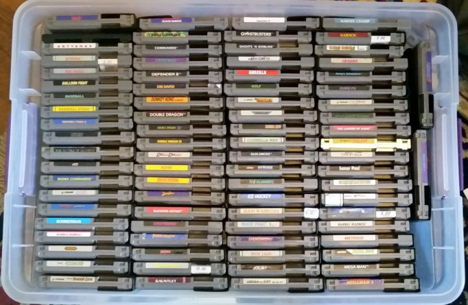 NES games in four rows of twenty fit neatly in the bin